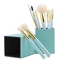 amoore 8本 化粧筆 メイクブラシセット 化粧ブラシ セット コスメ ブラシ 収納ケース付き (8本, ミントグリーン)