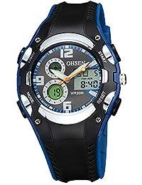 OHSEN 腕時計 キッズ スポーツ アナデジ表示 LCDバックライト 日付曜日 ストップウォッチ アラーム 30M防水 ブラック ブルー