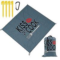レジャーシート コック キス ピクニックマット防水 携帯便利 150×145cm 2~6人用カ ラビナ付き