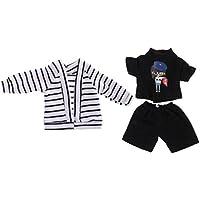 Dovewill 1/6スケール  BJD人形用 ファッション ストライプ カーディガン Tシャツ ズボン セット