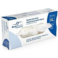 MediHands 高耐久使い捨てビニール手袋 100枚 パウダーフリー 両手対応 超快適 超強力 耐久性 伸縮性 薬 食品 多用途 X-Large クリア