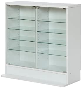 不二貿易 ガラスコレクションケース ロータイプ 浅型 5段 強化ガラス ホワイト 96072