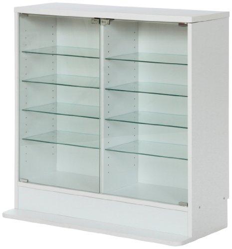 不二貿易 ガラスコレクションケース ロータイプ 浅型 5段 強化ガラス ホワイト 96072...