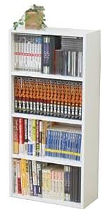 不二貿易 本棚 コミック収納ラック 4段 幅41.8cm ホワイト 81397