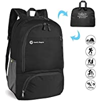 ComfyDegree - Packable Ultralight Hiking Backpack, Foldable Lightweight Multi-Functional Casual Camping Trekking Rucksack Cycling Travel Climbing Mountaineer Outdoor Sport Daypack Bag (Black)