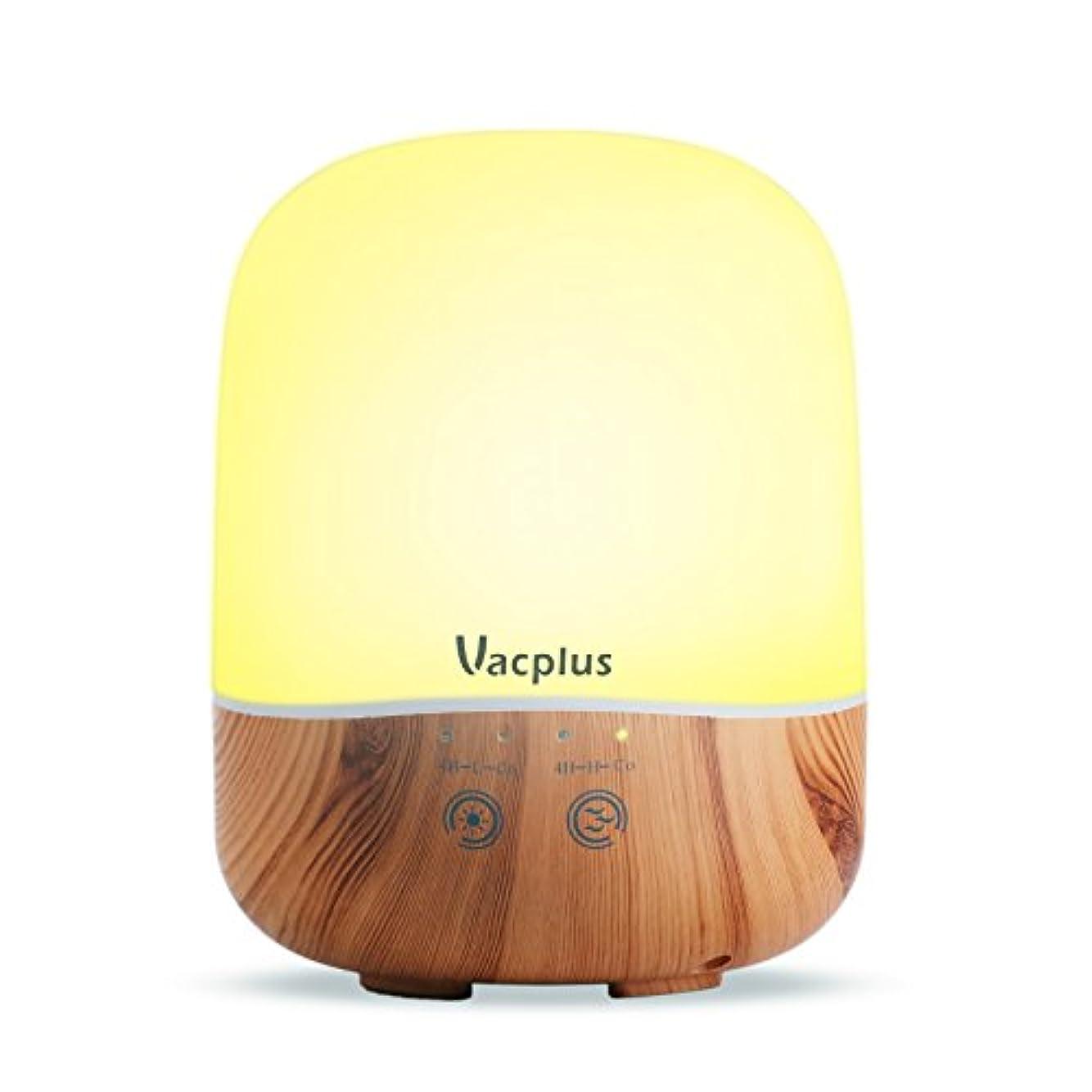 アピール一晩狼Vacplus アロマディフューザー 加湿器 300ml大容量 超音波式 卓上加湿器 七色変換LEDライト 空焚き防止機能(木目調)