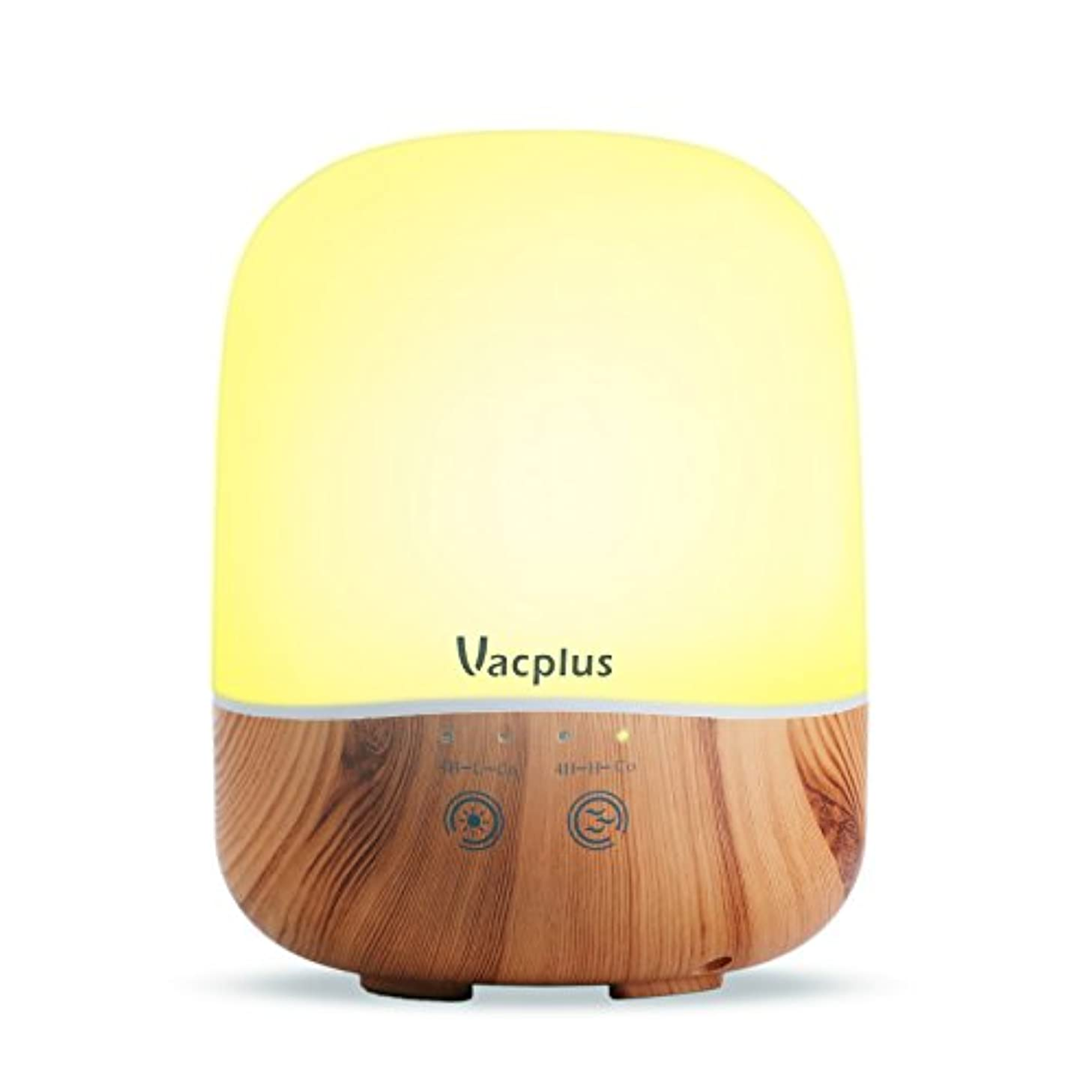 のぞき見タップVacplus アロマディフューザー 加湿器 300ml大容量 超音波式 卓上加湿器 七色変換LEDライト 空焚き防止機能(木目調)