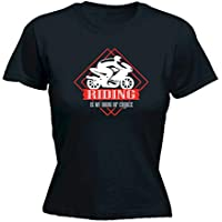 123t Funny Tee - Moto Riding is My Drug of Choice - Womens Fitted Cotton T-Shirt Top T Shirt