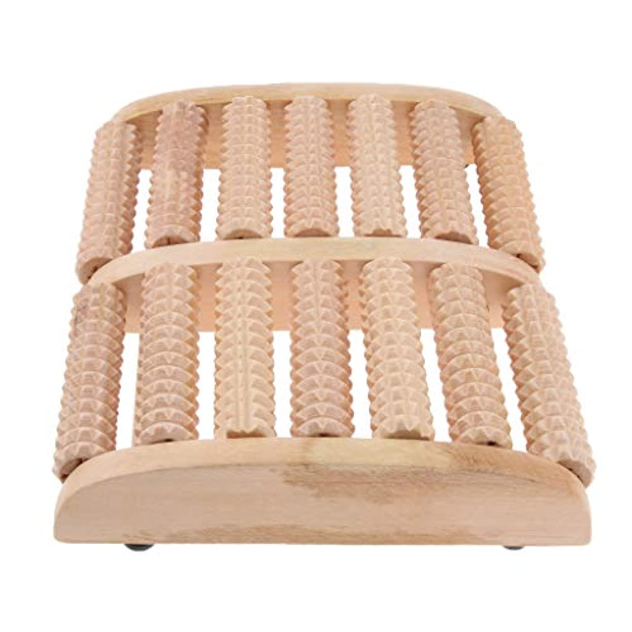 IPOTCH マッサージローラー 7行 自然木製 足踏み フットマッサージ ツボ押し 痛み緩和 健康器具 高品質