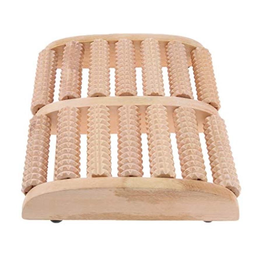 アイスクリームグリップ投げるIPOTCH マッサージローラー 7行 自然木製 足踏み フットマッサージ ツボ押し 痛み緩和 健康器具 高品質