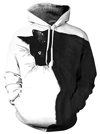 Amade メンズ 長袖パーカー 猫柄 面白い ホワイト 原宿系 おしゃれ 通気 肌触り 男女兼用 プルオーバー 普段着 お揃い 秋冬-JP007-59-S