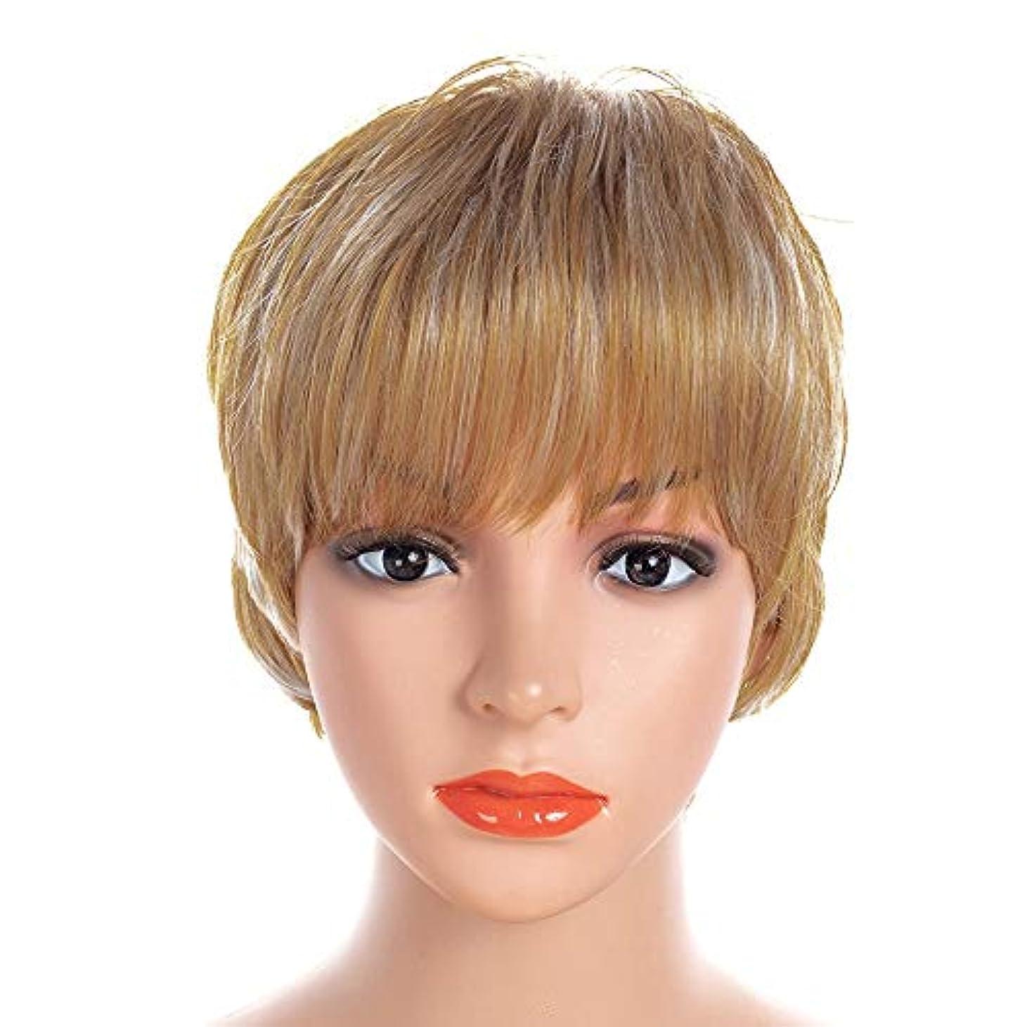 毛皮プロフェッショナル叙情的なWASAIO 交換用コスパリーパーティーヘア用の上流階級ボブスタイルアクセサリーの女性ショートカーリーブロンドかつら (色 : Blonde, サイズ : 30cm)
