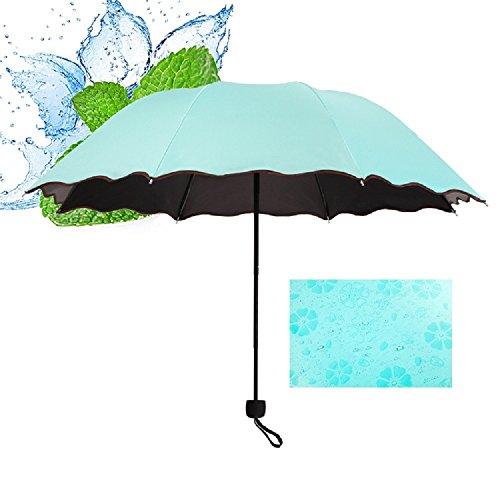 ロイヤルパイン(Royal Pine) UVカット 晴雨兼用 日傘 三つ折り 折り畳み 大判 軽量 濡れるとかわいい花柄が浮き出る傘 ヘアゴム セット(ミントグリーン)