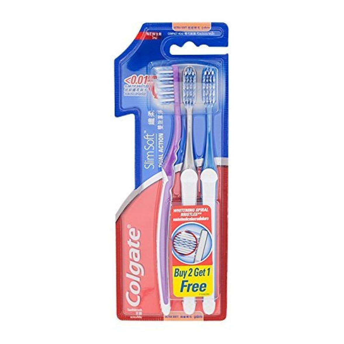 体細胞コインランドリー葉を拾うColgate Compact Ultra Soft Dual Action | Slim Soft Toothbrush, Family Pack (3 Bristles) by BeautyBreeze