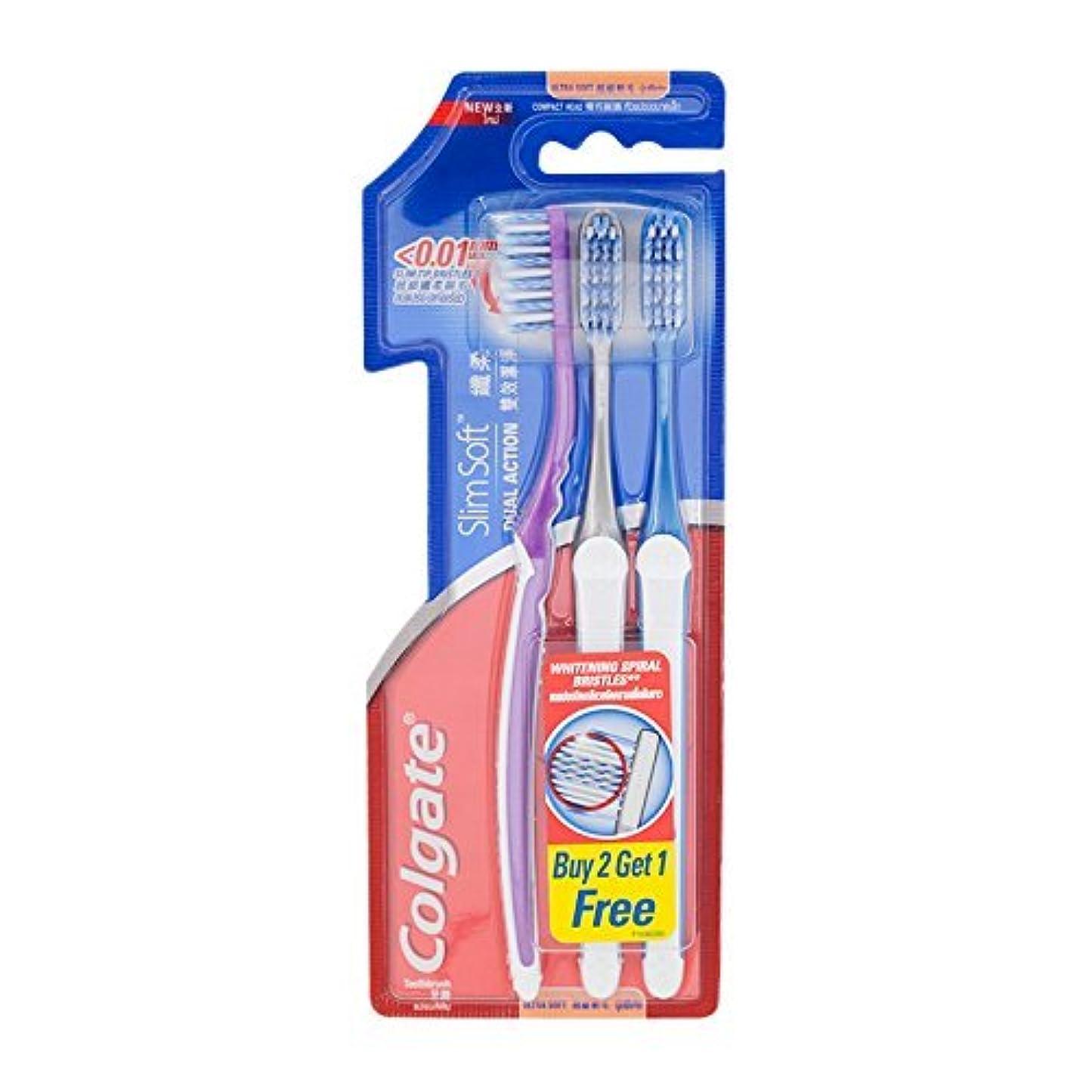 競う失業者ストラップColgate Compact Ultra Soft Dual Action | Slim Soft Toothbrush, Family Pack (3 Bristles) by BeautyBreeze
