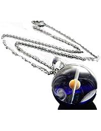 <DEEP BLUE>1点物、土星&地球ガラスネックレス メンズネックレス 土星&宇宙ガラスネックレス ガラスペンダント 宇宙 宇宙ネックレス メンズペンダント 日本製 日本製