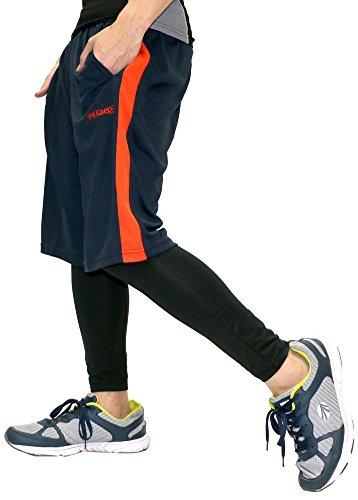 Kaepa(ケイパ) ランニングウェア コンプレッション タイツ ショートパンツ セット メンズ ネイビー LL