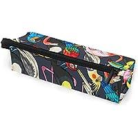 MASSIKOA Exotic Flamingo Toucan Parrot Pencil Bag Makeup Pouch Durable Pen Stationary Organizer with Zipper for Adults Teens Girls Boys