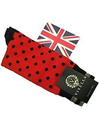 (ビエラ、ヴァイエラ)Viyella 英国製 メンズソックス ウール 綿 コットン Cotton Wool ハーフホーズ Red/Black Dot K284