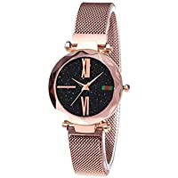 Women Wrist Watch Analogue Quartz MovementWristWatches with PU Armband Classic Waterproof Starry Sky Dial Roman Numeral Watch 1pc Rose Gold