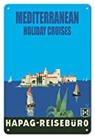 22cm x 30cmヴィンテージハワイアンティンサイン - 地中海ホリデークルーズ - ハンブルク?アメリカ?ライン (HAPAG) - 旅行代理店 - ビンテージな遠洋定期船のポスター によって作成された アルバート・ファス c.1935