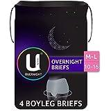 U by Kotex Overnight Briefs, Grey, M/L Sizes 10-16, 4 Count