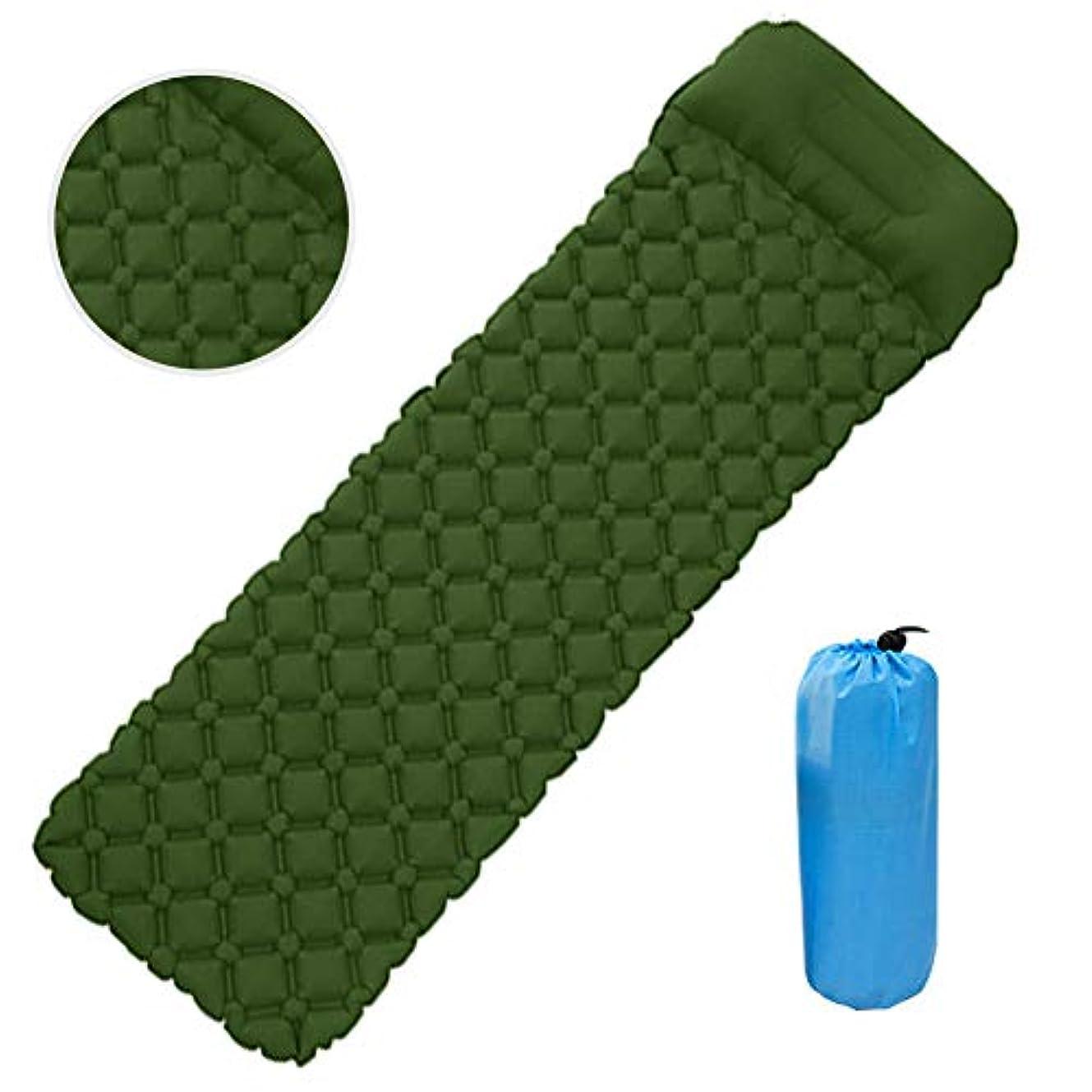 一目洪水ポップ自己膨張式キャンプマット、超軽量スリーピングパッド、ポータブル防湿マットレス、屋外トレッキングバックパッキングテントに適しています(ブルーオレンジグリーン)