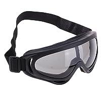 Baosity オートバイ 乗馬 自転車 ゴーグル 眼鏡 抗UV 防風 滑り止め 目保護 弾性バンド付き 全4色 - ブラック