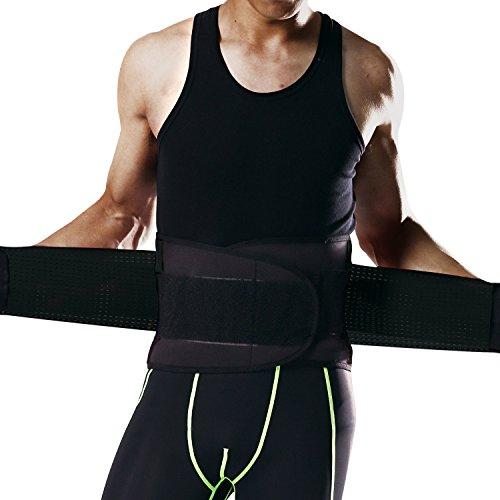 Darchen 腰痛 コルセット 腰ベルト 大きめ しっかり 加圧ウエスト シェイプ アップ ベルト腰保温 腰椎骨盤固定 腰痛緩和 腰椎保護 姿勢矯正 腰痛緩和ダイエット メッシュ性 メンズ (Black, L)