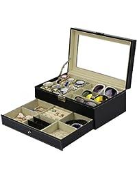 ジュエリー&ウォッチ&サングラス 2段式 腕時計収納ケース サングラス収納ボックス アクセサリー収納 レ (type2)