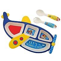 食器小麦わら子供分割プレートセット電子レンジ食器洗い機安全な赤ちゃんのための餌付け、子供幼児漫画クマ形食器 (Color : A)