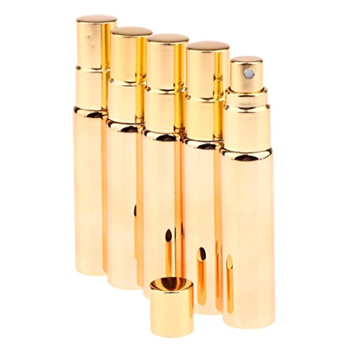 掘る虐待トラクター空の香水瓶 香水スプレーボトル アトマイザー 旅行携帯便利 香水噴霧器 詰替え容器 5本入 - シャイニーゴールド