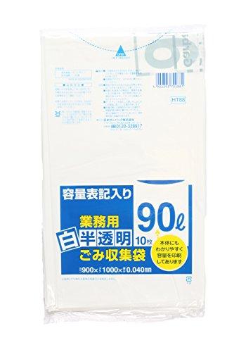 日本サニパック 白半透明 ゴミ収集袋90L10P LL厚口 HT88 1箱(300枚)