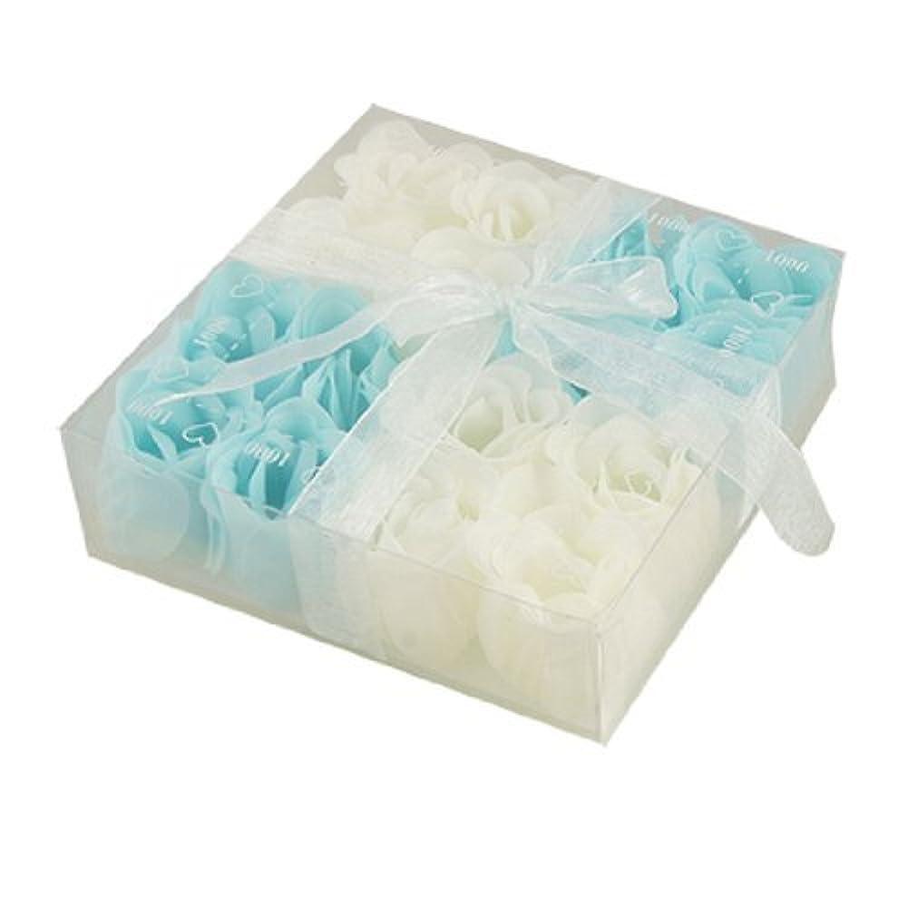 荒らすエスカレーター保存するDealMuxベイビーブルーホワイト16個の香りの入浴ソープローズペタルギフト