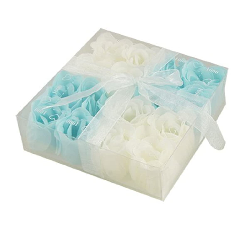 DealMuxベイビーブルーホワイト16個の香りの入浴ソープローズペタルギフト