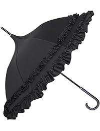 【Rose Blanc】100%完全遮光 日傘 レディース 晴雨兼用 パゴダ 50cm ダブルフリル 涼感 (ブラック)