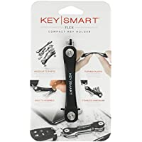 KeySmart Flex - Compact Key Holder and Keychain Organizer (up to 8 Keys, Black)