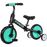 ペダルなし自転車 子供用 幼児用 1と2のバランスバイクと三輪車 - 防護服とヘルメット、27 cm(10.6インチ)を含む少女男の子のためのベージュグリーンレッドペダルバイク (色 : Green)