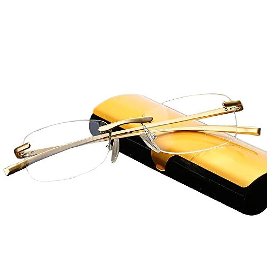 樹脂老眼鏡は目を疲労から守ります、 アルミマグネシウム合金フレームレス老眼鏡、 超薄型ポータブル折りたたみ老眼鏡、 多機能ゴールドファッション男性と女性老眼鏡
