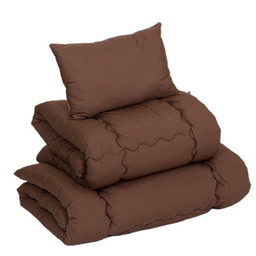 肌触りが滑らか素材 ホコリが出にくい寝具布団3点セット 「ハーモニー」【ブラウン色(茶色)】(シングルサイズ)(掛け布団・敷き布団・枕のセット) すぐに使えるタイプ 来客用 丸洗いOK