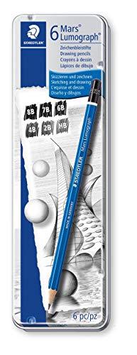 ステッドラー 鉛筆 ルモグラフ 製図用 6硬度 缶ケース 100G6