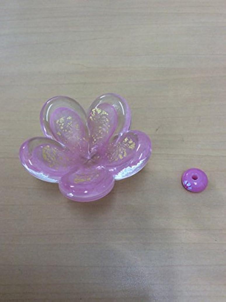 六に関してなかなかガラスのお香立てセット 華香台(ピンク) 【HK-13】