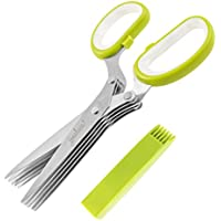 Jenaluca Herb Scissors Stainless Steel - With Five Blades and Cover with Cleaning Comb - Lifetime Guarantee - Best Kitchen Shears - Multi Blade Herb Scissors