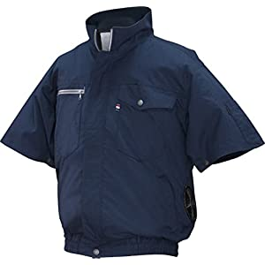 NSP 空調服バッテリーセット ND-201A ネイビー 綿 立ち襟 半袖 サイズ5L 8209928