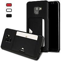 Ruida -au Galaxy A8 2018 Case Ultra Slim Advanced TPU 1 Card Slots Holder Pocket Back Leather Cover Shell Samsung Galaxy A8 2018