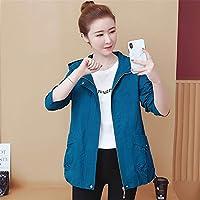 女性の ジャケットステレオ3 Dカット通気性長袖軽量ルースショートジャケット暖かいスポーツジャケット,Blue,3XL
