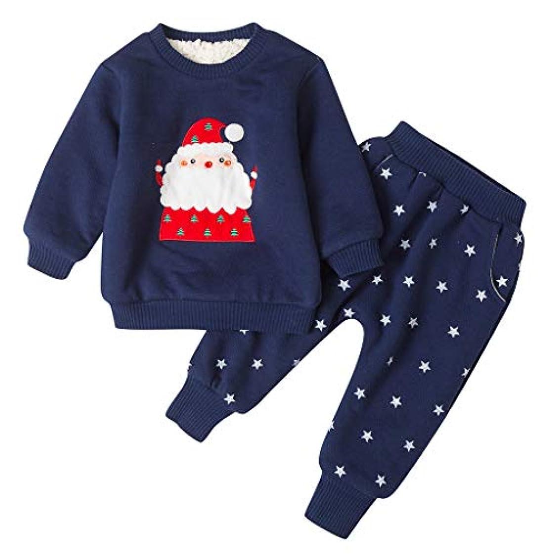 豆四面体承認するラブリサンタクロースパターン女の子ベビー冬コートジャケットキッド厚いスノースーツクリスマストップス+パンツ衣装長袖コットンロンパースジャンプスーツ