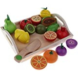 Homyl 11 Pieces Wooden Magnetic Cutting Fruits Play Food Set, Pear, Plum, Orange and Tray for Kids Children