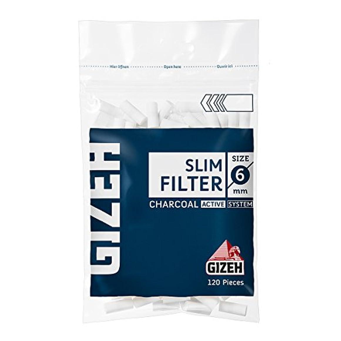 温度数けがをするGIZEH(ギゼ) スリム チャコール フィルター 120個入(直径6mm) 7-25012-30 ×4袋パック 手巻きタバコ 喫煙具