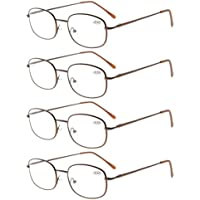 Eyekepper Metal Frame Spring Hinged Arms Reading Glasses Pack of 4 Pairs Brown +1.25